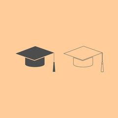 Graduation cap dark grey set icon .