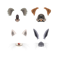 Animal face filter template video chat photo effect vector isolated icons