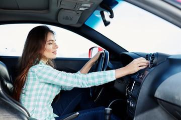 Beautiful girl in car