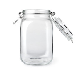 Opened empty glass jar isolated on a white background