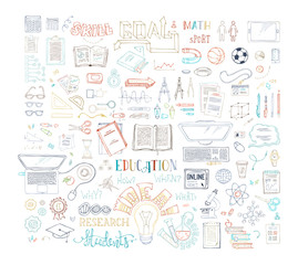 Vector education / job doodles icons.