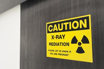 Symbol of radioactivity and radiation from x-ray machine