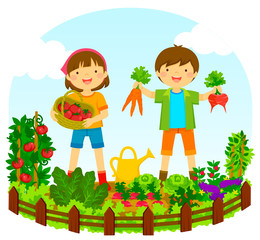 two kids picking vegetables in a vegetable garden