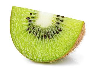 Ripe slice of kiwi fruit isolated on white background