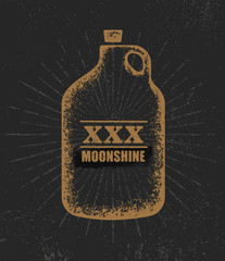 Moonshine Jug Pure Original Corn Spirit Creative Artisan Illustration. Raw Homemade Alcohol Creative Sign