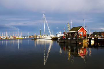 The view of the harbor in Stavern, Norway.