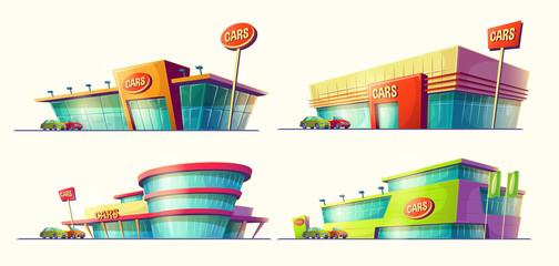 Set of vector cartoon illustrations, various buildings, car sale centers, car rental. Icons of modern large car dealership. Print, template, design element