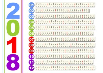 Simple calendar in unusual design. Months in horizontal stripes, background solved with minimalist graphic shapes, colored year number and month number