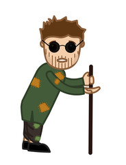 Blind Cartoon Beggar Character