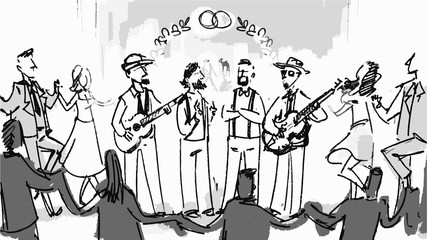 Band playing the guitar at a concert show Vector sketch for storyboard, cartoon, projects