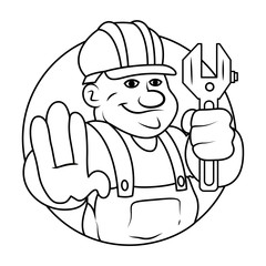 Under Construction Guy Vector Sketching