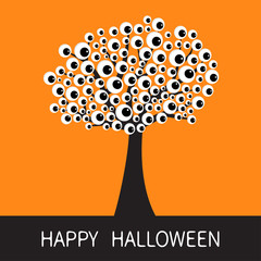 Happy Halloween card. Black tree silhouette Branch with eyes. Cartoon eyeball. Spooky apple of eye set. Baby illustration collection. Flat design. Orange background.