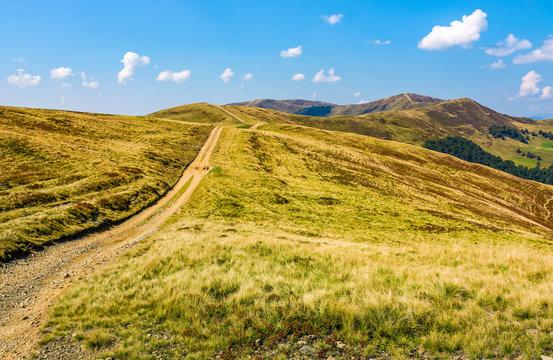 path on high altitude alpine hills