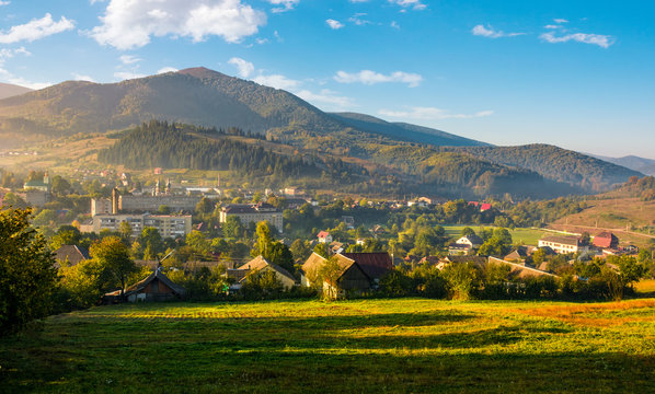 beautiful countryside in transcarpathia at sunrise