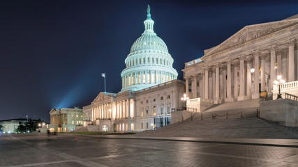 United States Capitol Building at night.