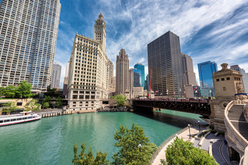 Du Sable bridge at sunny day in Chicago downtown.