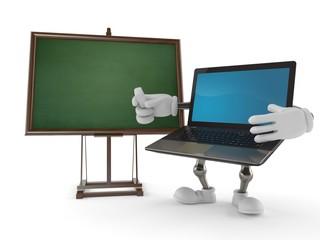 Laptop character with blank blackboard
