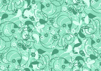 pattern abstract flowers, seamless background green