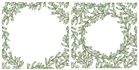 Textures background made from tree branches or laurel wreaths. Square composition. Vector graphics