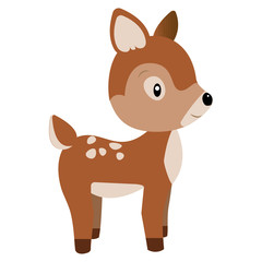 Cute forest deer on white background