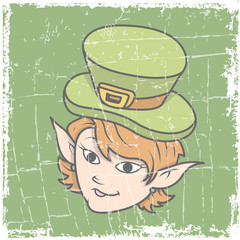 Happy Young Leprechaun Girl Face Expression - Retro Grunge Graphic