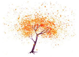 Hand drawn watercolor decorative element isolated on white background. Decorative tree. Splash, blot, drop.