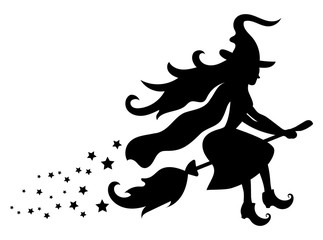 Black silhouette of a witch flying on a broomstick. Silhouette for the Halloween. Mystical illustration. Vector outline of a witch.