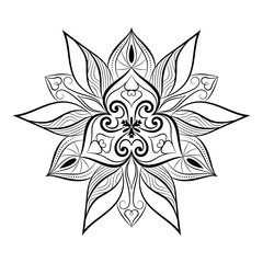 Flower mandala over white