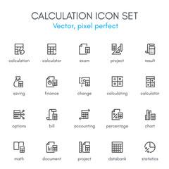 Calculation theme, line icon set.