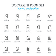 Document theme, line icon set.