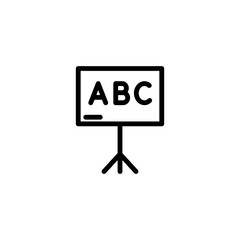 blackboard with abc letters line black icon