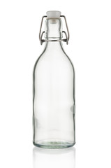Vintage bottle close up on white background