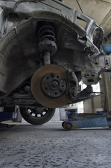 The brakes and shock absorbers of a car