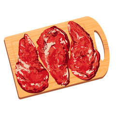 Colorful illustration of pieces of meat