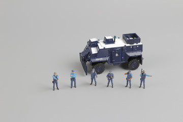 set of  figure of police with toys  car