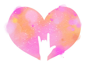I love you hand sign in pink watercolor heart. Digital art painting