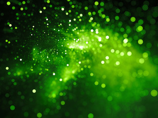 Green glowing nebula with stars in bokeh, depth of field