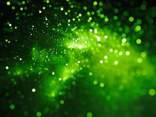 Green glowing nebula with stars in bokeh, depth of field Wall mural