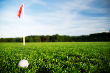 Golf ball on a green meadow with red flag