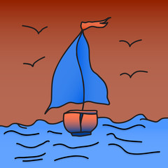 ship with scarlet sails is floating on the waves. Vector illustration. Drawing by hand.