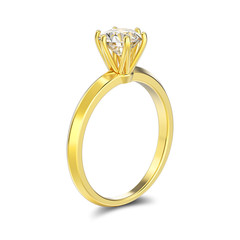 3D illustration isolated yellow gold traditional solitaire engagement diamond ring with shadow