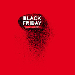 Black friday sale inscription on abstract ink blots. Sale and discount. Black friday template for your banner or poster. Vector illustration. Isolated on red background