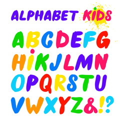 Children's font in the cartoon style. Set of multicolored bright letters for inscriptions. Vector illustration of an alphabet. Freehand drawing. Isolated on white background.