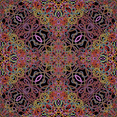 Multicolored ornament, seamless pattern, vector background. Bright wicker weave on a black background. For wallpaper design, cards, cover