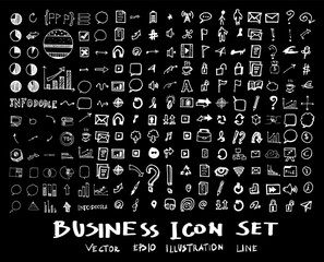Business, marketing, finance hand draw sketch vector doodle icons set on blackboard eps10