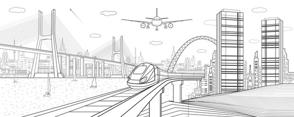 Infrastructure and transport illustration. Train move on railway. Airplane fly. Big cable-stayed bridge. Modern night city, towers and skyscrapers. Black lines on white background. Vector design art