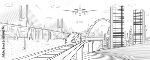 """""""Infrastructure and transport illustration. Train move on ..."""