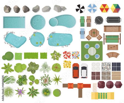 "Home Outside The Best Free Landscape Design App: ""Set Landscape Elements, Top View. Garden, Tree, Lake"