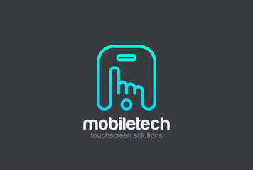 Finger press touchscreen Mobile phone Logo vector.  App icon