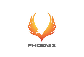 Phoenix rising Wings Logo vector. Luxury Falcon Eagle Hawk bird